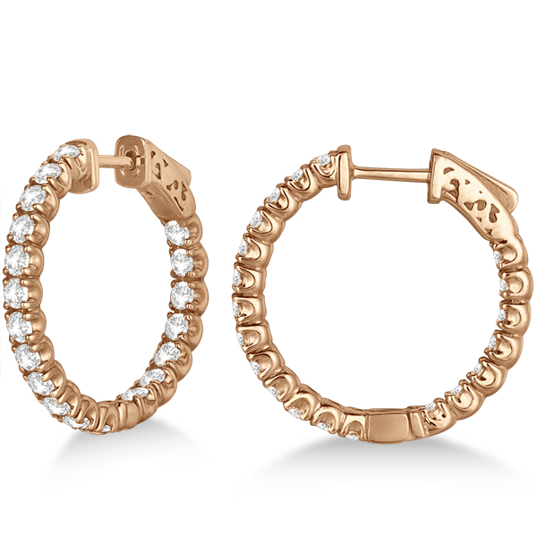 Small Fancy Round Diamond Hoop Earrings 14k Rose Gold (2.75ct)