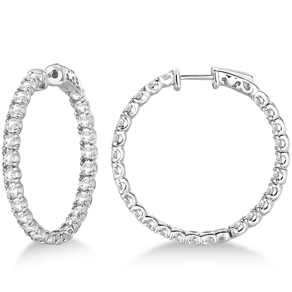 Fancy Medium Round Diamond Hoop Earrings 14k White Gold (5.25ct)