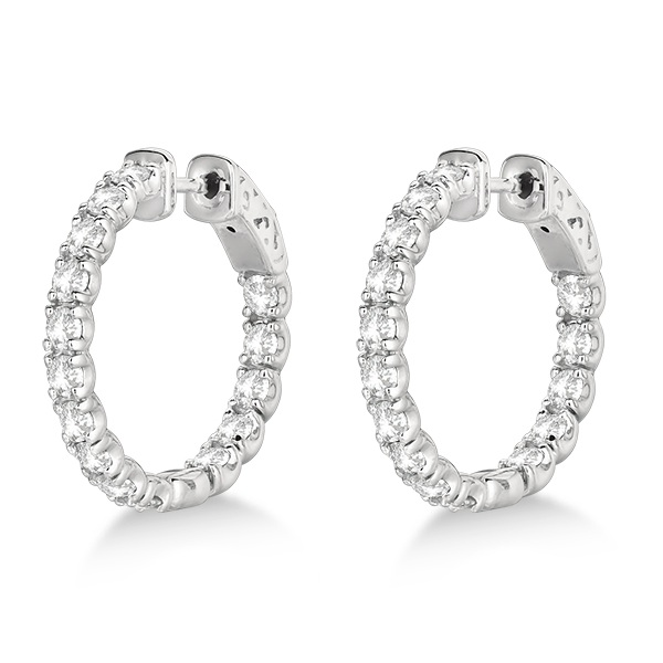 Small Round Diamond Hoop Earrings 14k White Gold (3.00ct)