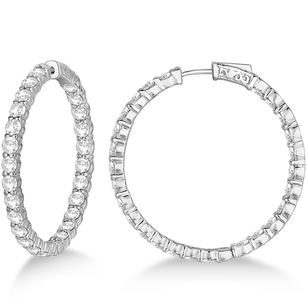 prong set large diamond hoop earrings 14k white gold 8. Black Bedroom Furniture Sets. Home Design Ideas