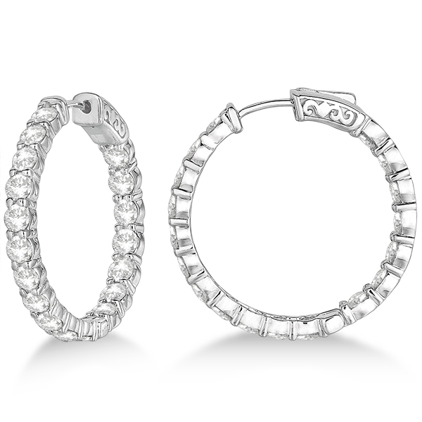 Prong-Set Medium Diamond Hoop Earrings 14k White Gold (5.54ct)