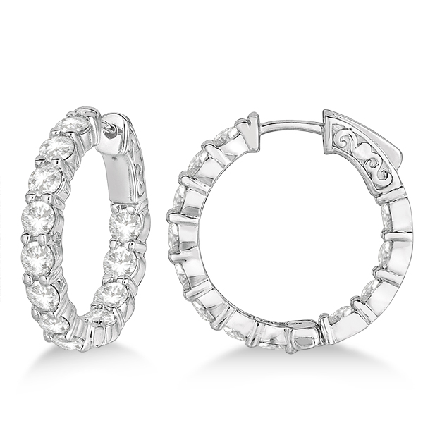 Prong-Set Small Diamond Hoop Earrings 14k White Gold (3.70ct)