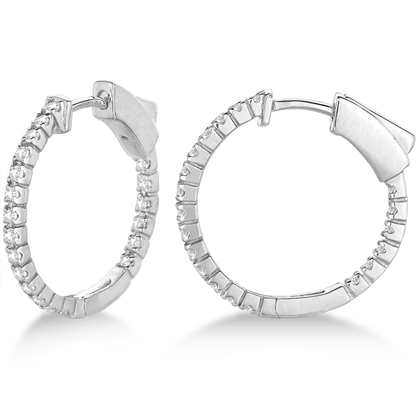 Unique Thin Small Diamond Hoop Earrings 14k White Gold (0.50 ct)