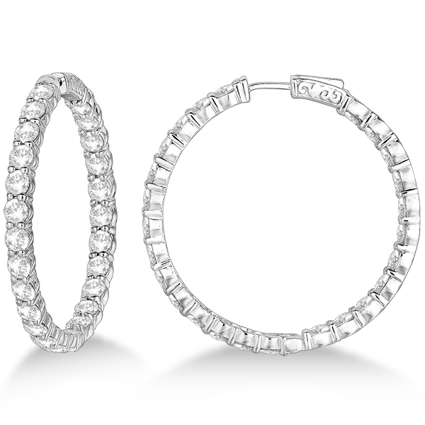 Fancy Prong-Set Large Diamond Hoop Earrings 14k White Gold (10.00ct)
