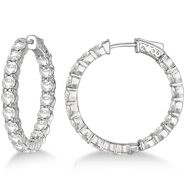 Fancy Medium Round Diamond Hoop Earrings 14k White Gold (7.20ct)