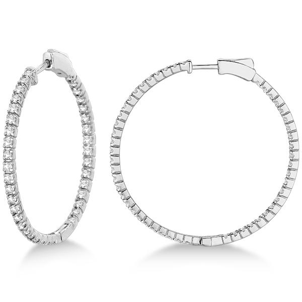 Stylish Large Round Diamond Hoop Earrings 14k White Gold (2.00ct)