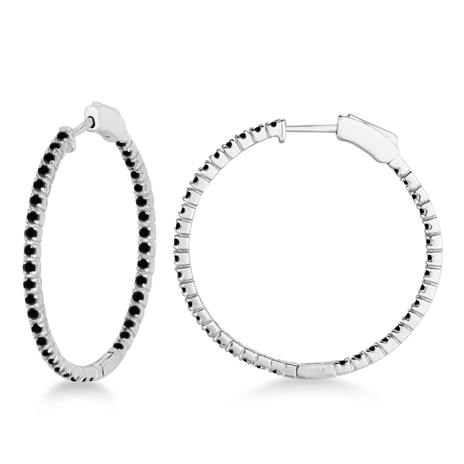 Medium Thin Round Black Diamond Hoop Earrings 14k White Gold (1.50ct)