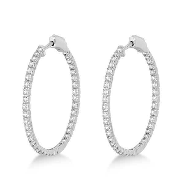 Medium Thin Round Diamond Hoop Earrings 14k White Gold (1.50ct)