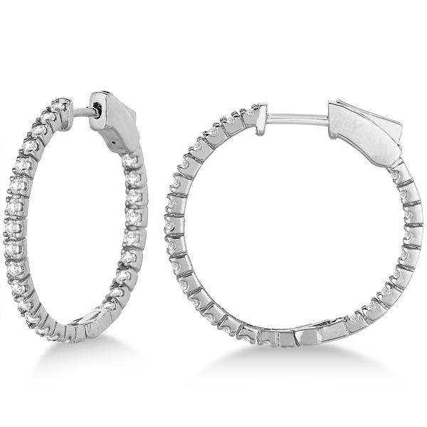 Stylish Small Round Diamond Hoop Earrings 14k White Gold (1.00ct)