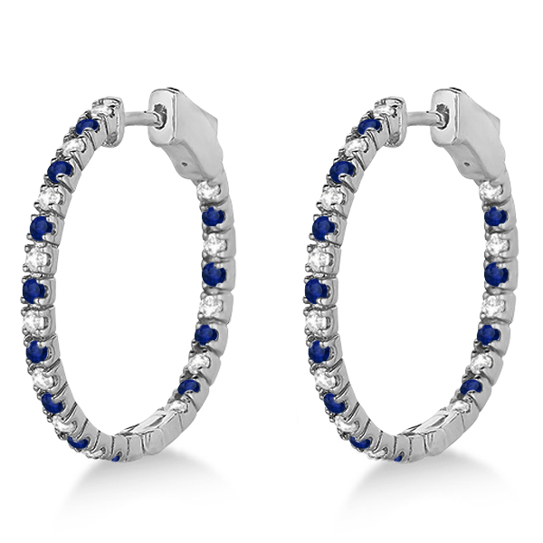 Round Diamond & Blue Sapphire Hoop Earrings 14k White Gold (1.44ct)