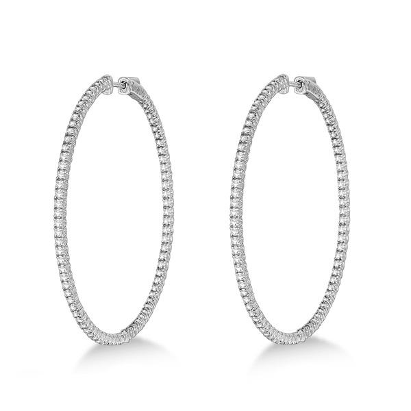 Unique X-Large Diamond Hoop Earrings 14k White Gold (3.00ct)