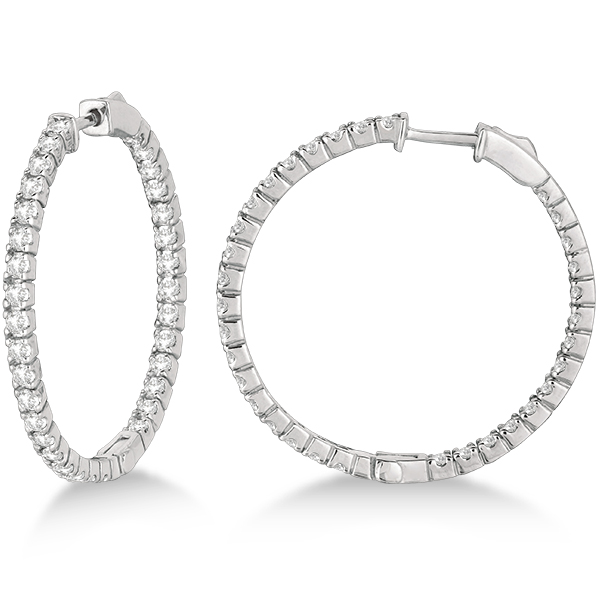 large round diamond hoop earrings 14k white gold. Black Bedroom Furniture Sets. Home Design Ideas