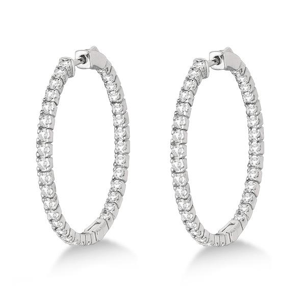 Large Round Diamond Hoop Earrings 14k White Gold (2.05ct)