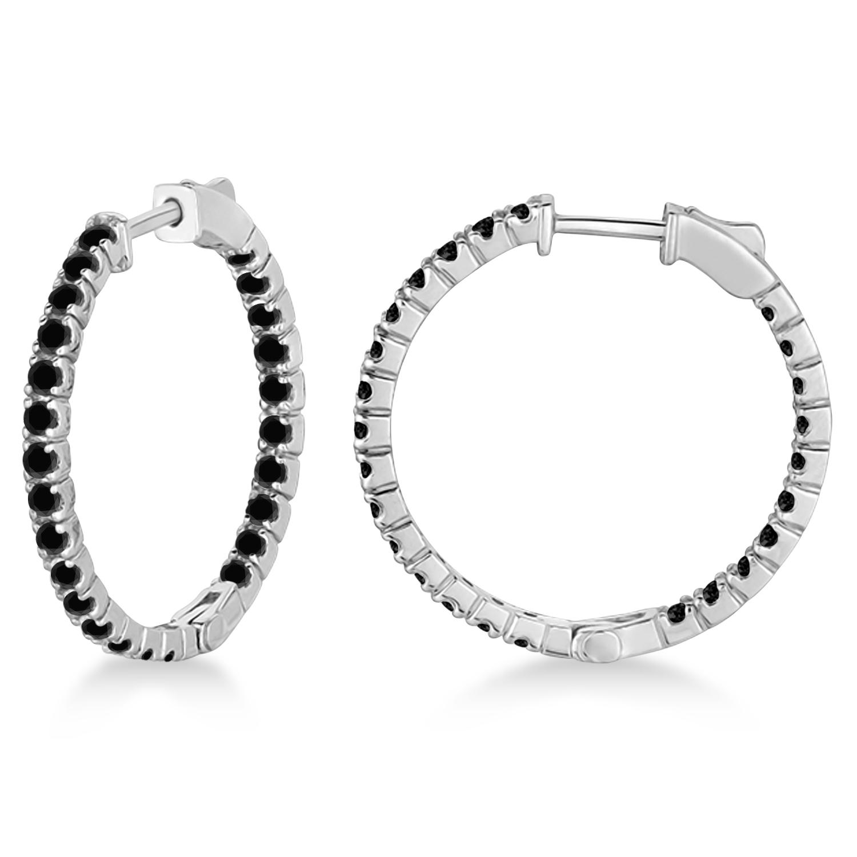 Medium Round Black Diamond Hoop Earrings 14k White Gold (1.55ct)