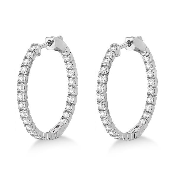 Medium Round Diamond Hoop Earrings 14k White Gold (1.55ct)