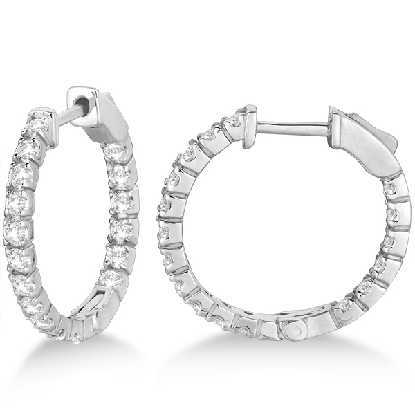 Fancy Small Round Diamond Hoop Earrings 14k White Gold (1.00ct)