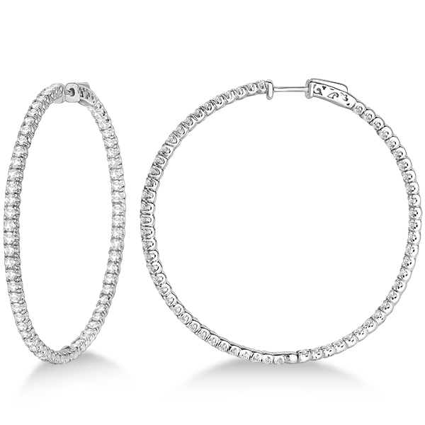 x large round diamond hoop earrings 14k white gold. Black Bedroom Furniture Sets. Home Design Ideas