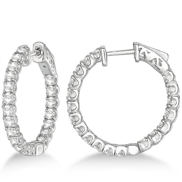 Medium Round Diamond Hoop Earrings 14k White Gold (2.00ct)