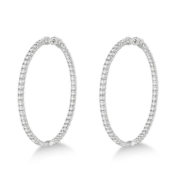 Stylish Large Round Diamond Hoop Earrings 14k White Gold (7.75ct)