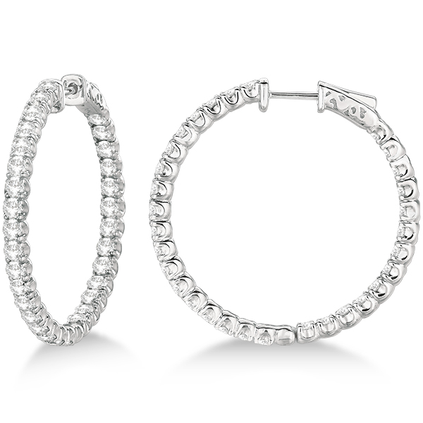 Medium Fancy Round Diamond Hoop Earrings 14k White Gold (4.50ct)