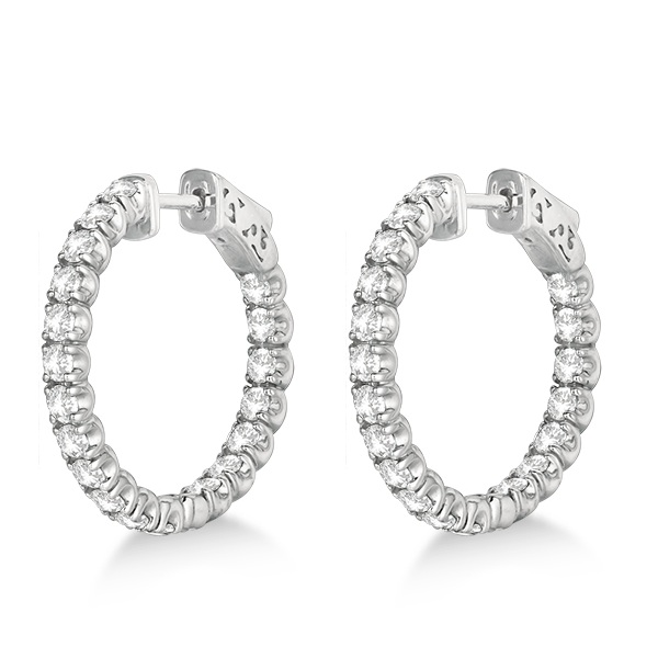 Small Fancy Round Diamond Hoop Earrings 14k White Gold (2.75ct)