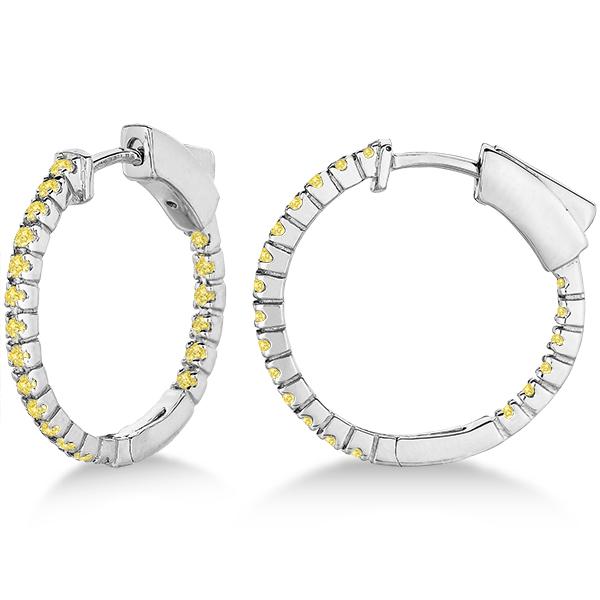Thin Yellow Canary Diamond Hoop Earrings 14K White Gold (0.50ct)