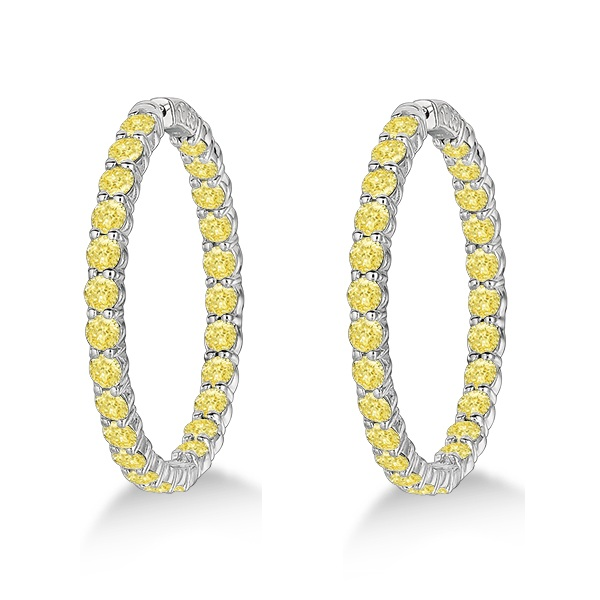 Fancy Yellow Canary Diamond Hoop Earrings 14k White Gold (10.00ct)