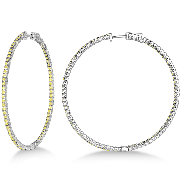 X-Large Yellow Canary Diamond Hoop Earrings 14k White Gold (3.00ct)