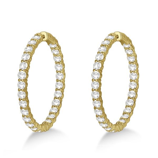 Prong-Set Large Diamond Hoop Earrings 14k Yellow Gold (8.01ct)