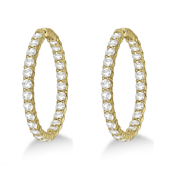 Fancy Prong-Set Large Diamond Hoop Earrings 14k Yellow Gold (10.00ct)