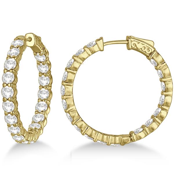 Fancy Medium Round Diamond Hoop Earrings 14k Yellow Gold (7.20ct)