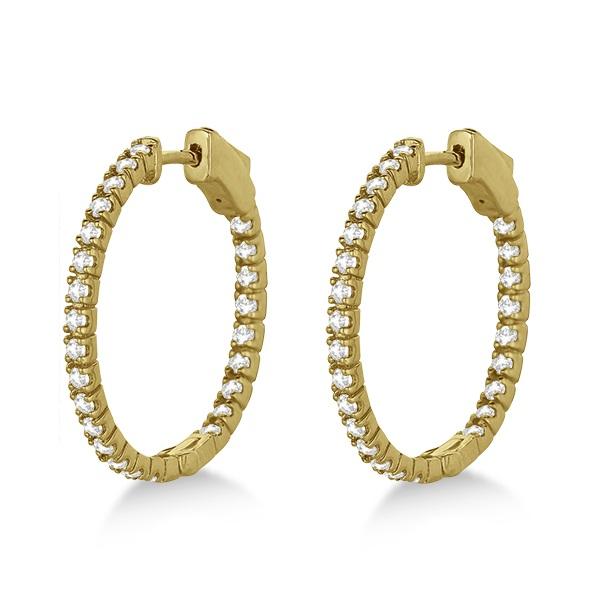 Stylish Small Round Diamond Hoop Earrings 14k Yellow Gold (1.00ct)