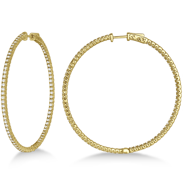 Unique X-Large Diamond Hoop Earrings 14k Yellow Gold (3.00ct)