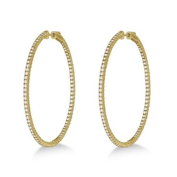 Unique X-Large Diamond Hoop Earrings 14k Yellow Gold (3.00ct)