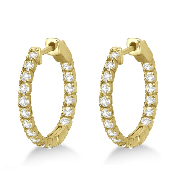 Fancy Small Round Diamond Hoop Earrings 14k Yellow Gold (1.00ct)