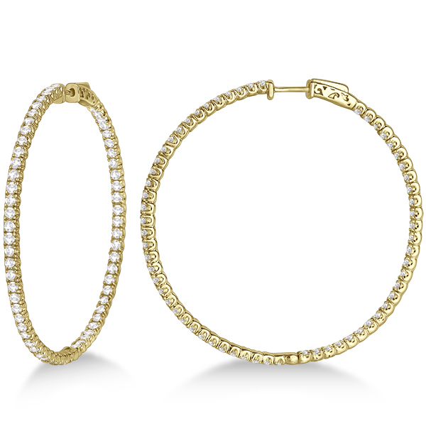 X-Large Round Diamond Hoop Earrings 14k Yellow Gold (5.15ct)
