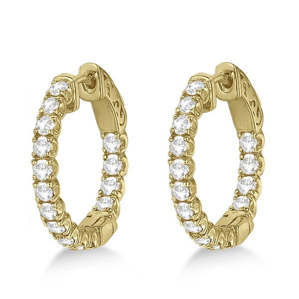 Unique Small Round Diamond Hoop Earrings 14k Yellow Gold (1.51ct)