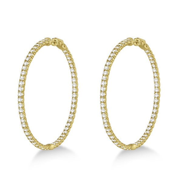 Stylish Large Round Diamond Hoop Earrings 14k Yellow Gold (7.75ct)