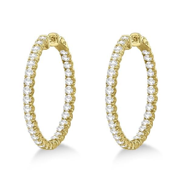 Medium Fancy Round Diamond Hoop Earrings 14k Yellow Gold (4.50ct)