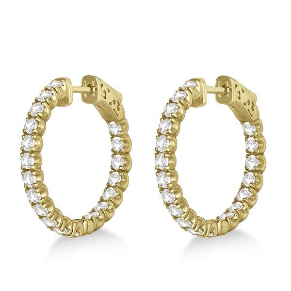 Small Fancy Round Diamond Hoop Earrings 14k Yellow Gold (2.75ct)