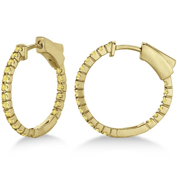 Thin Yellow Canary Diamond Hoop Earrings 14K Yellow Gold (0.50ct)