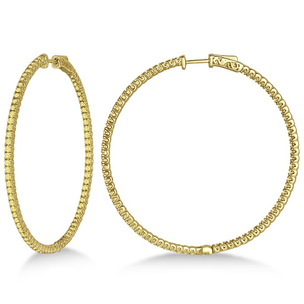 X-Large Yellow Canary Diamond Hoop Earrings 14k Yellow Gold (3.00ct)