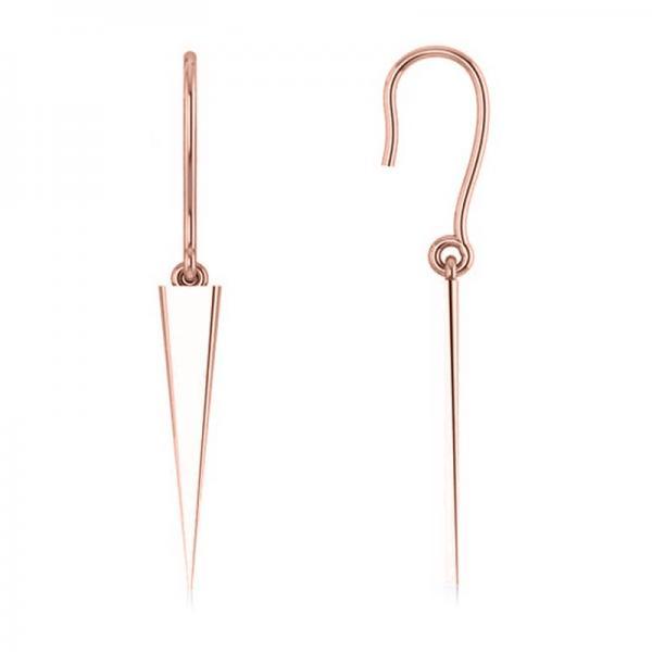 Dangling Spike Earrings in Plain Metal 14k Rose Gold