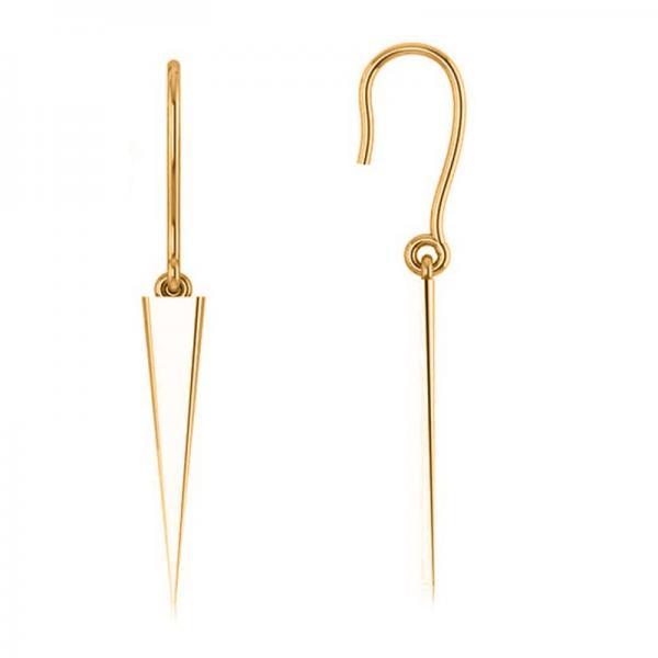 Dangling Spike Earrings in Plain Metal 14k Yellow Gold