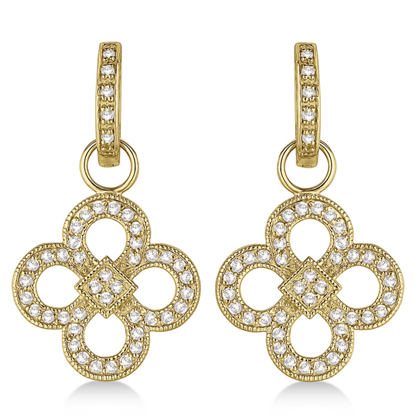 Four Leaf Clover Dangling Diamond Earrings 14k Yellow Gold (1.00ct)