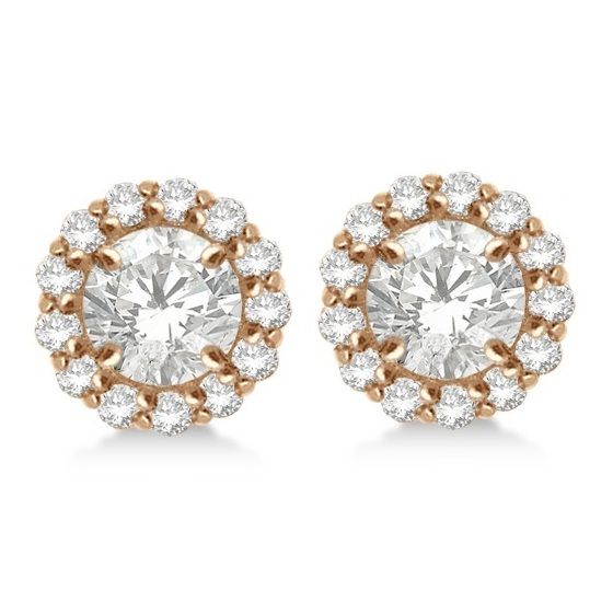 Round Diamond Earring Jackets for 4mm Studs 14K Rose Gold (0.35ct)