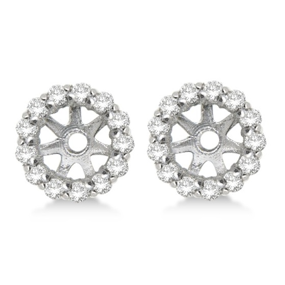 Round Diamond Earring Jackets for 8mm Studs 14K White Gold (0.64ct)