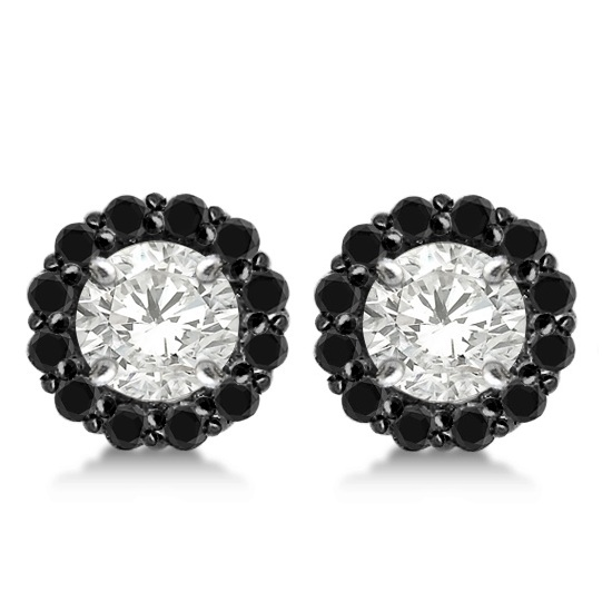 Round Cut Fancy Black Diamond Earring Jackets 14k White Gold (0.35ct)