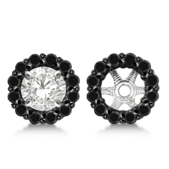 Round Cut Fancy Black Diamond Earring Jackets 14k White Gold (0.50ct)
