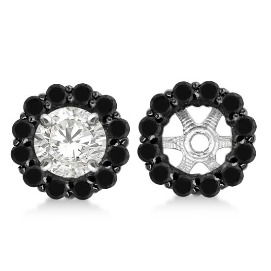Round Cut Fancy Black Diamond Earring Jackets 14k White Gold (0.75ct)